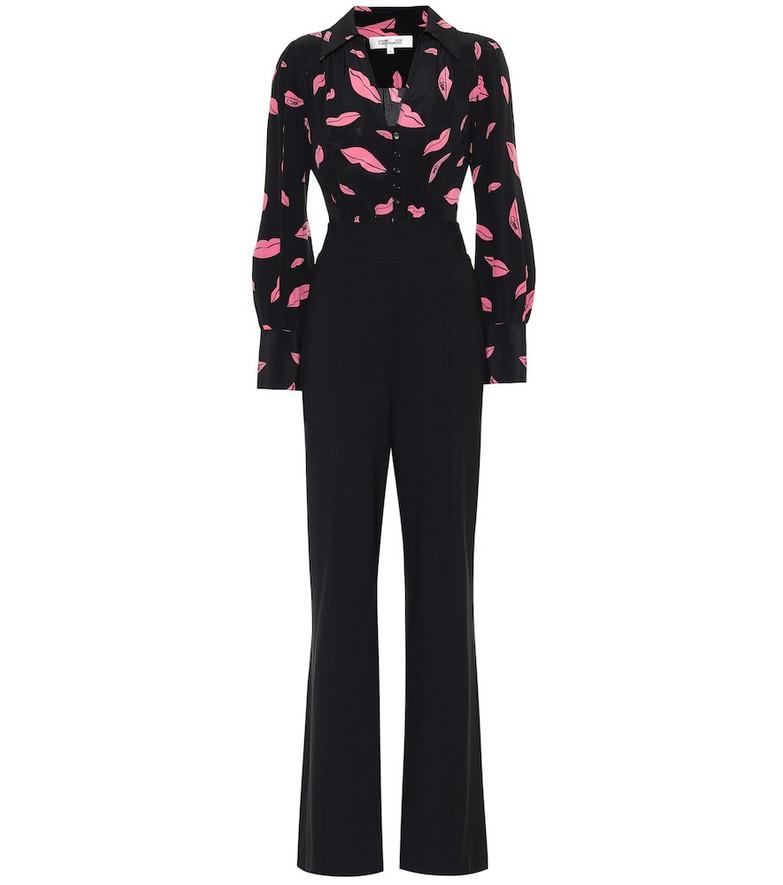 Diane von Furstenberg June silk and wool-blend jumpsuit in black