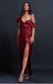 dress,evening dress,satin,red dress,haute couture