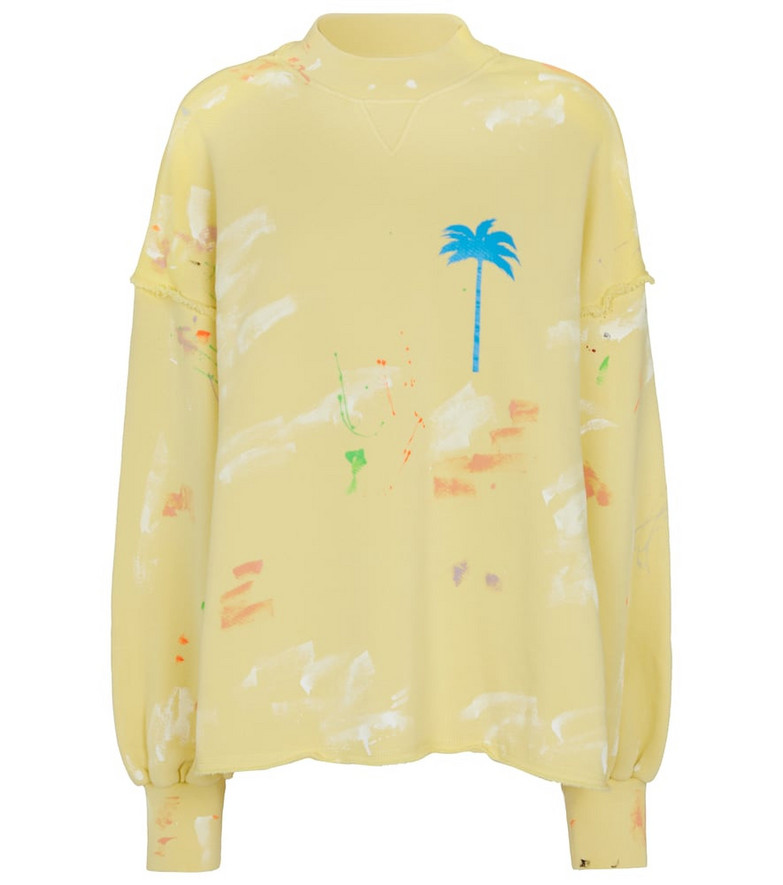 Palm Angels Printed cotton jersey sweatshirt in yellow