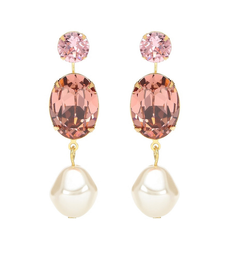 Jennifer Behr Meredith crystal and faux-pearl earrings in pink