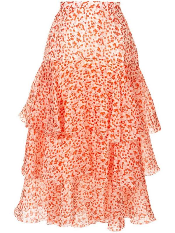 Delpozo ruffle layered skirt in white
