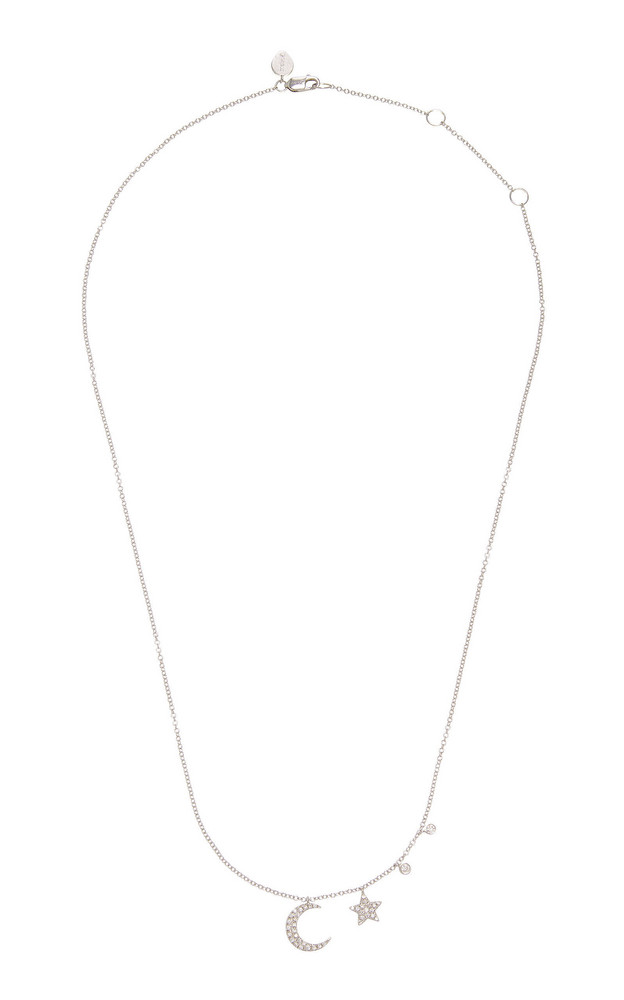 Meira T Diamond Moon 14K Gold Diamond Necklace in white