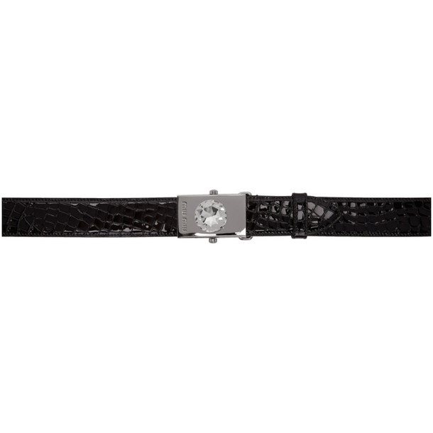 Miu Miu Black Croc Oversized Diamond Belt