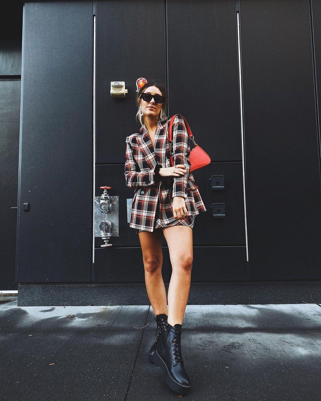 jacket plaid blazer mini skirt plaid skirt ankle boots black boots bag