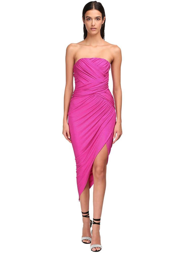 ALEXANDRE VAUTHIER Micro Crystal Draped Jersey Midi Dress in fuchsia