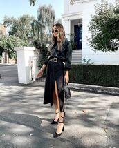 skirt,black skirt,midi skirt,pumps,black shirt,leather,black bag