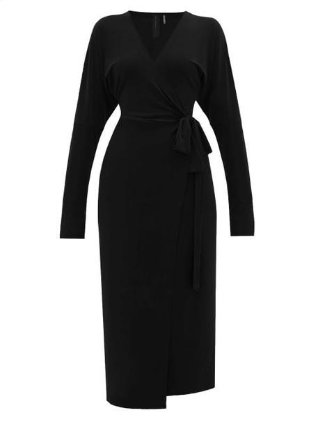 Norma Kamali - V-neck Dolman-sleeve Jersey Wrap Dress - Womens - Black