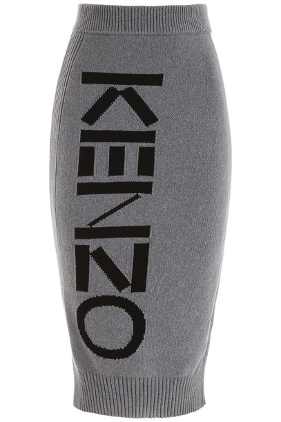 Kenzo Logo Pencil Skirt in grey