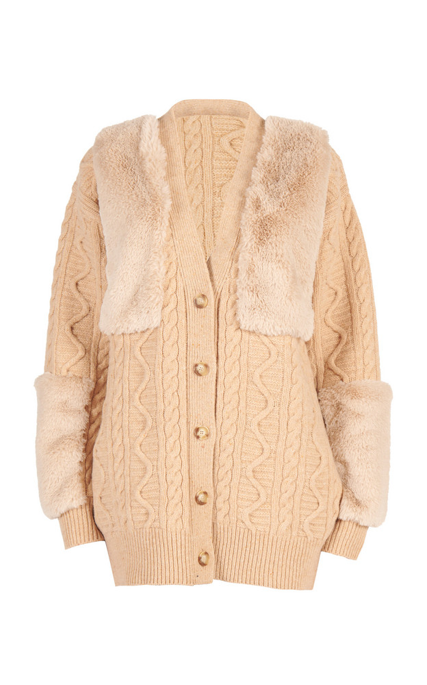 Stella McCartney Vegan Fur-Trimmed Cable-Knit Wool Cardigan in neutral