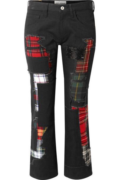 Junya Watanabe - Embellished Patchwork Low-rise Straight-leg Jeans - Black