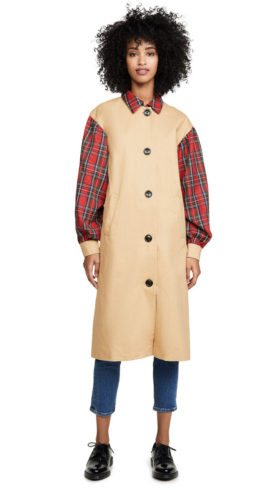 ENGLISH FACTORY Combo Tartan Trench in multi