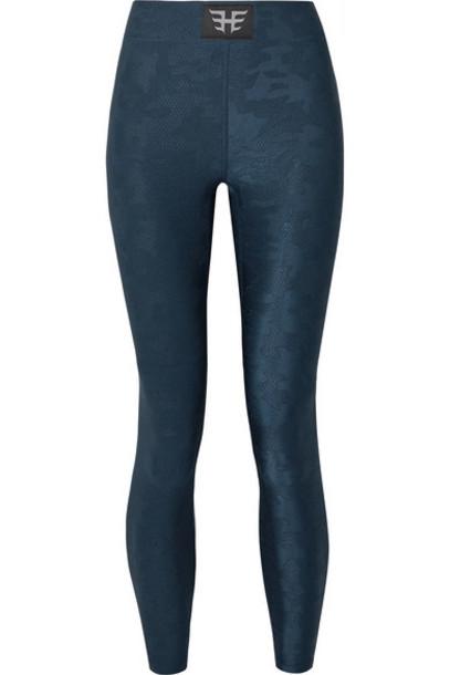 Heroine Sport - Icon Stretch Jacquard-knit Leggings - Storm blue