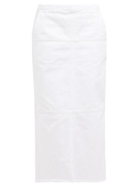 Raey - Panelled Denim Midi Skirt - Womens - White