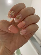 nail polish,gel,crystal nails,stone nails,nails,peach,nail decor,gel nails,acrylic nails,pink nails,nail art,metallic nails,finger nails,fingers