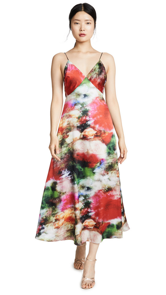 Adam Lippes Hammered Silk Cami Dress in multi