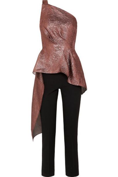 Roland Mouret - One-shoulder Asymmetric Metallic Organza And Crepe Jumpsuit - Burgundy
