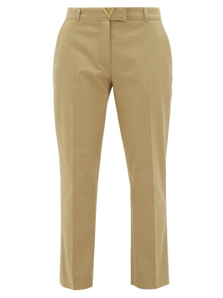 Valentino - V-logo Cotton-gabardine Cigarette Trousers - Womens - Beige