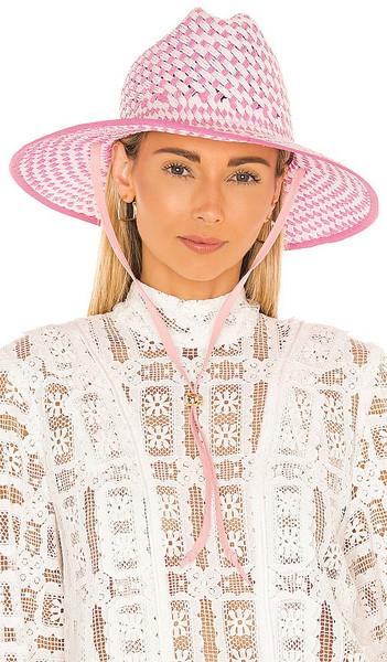 Lele Sadoughi Straw Checkered Hat in Pink in blush