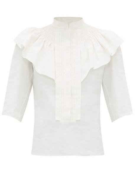 Chloé Chloé - Ruffle Trim Smocked Linen Blouse - Womens - Ivory