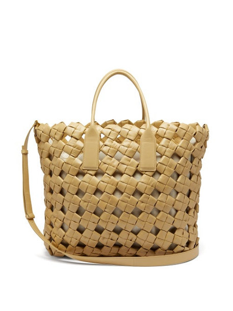 Bottega Veneta - Bv Window Intrecciato Leather Tote Bag - Womens - Beige