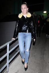 shoes,jacket,denim,celebrity,pumps,miley cyrus