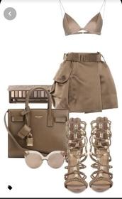 skirt,beige top,two-piece,beige skirt