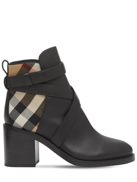 BURBERRY 70mm Pryle Leather & Check Ankle Boots in black