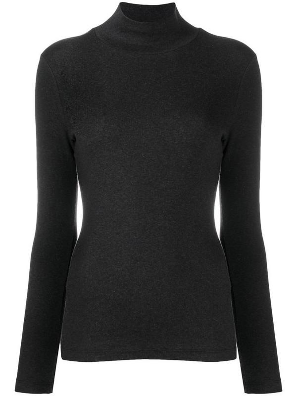Peserico mock neck slim-fit top in grey