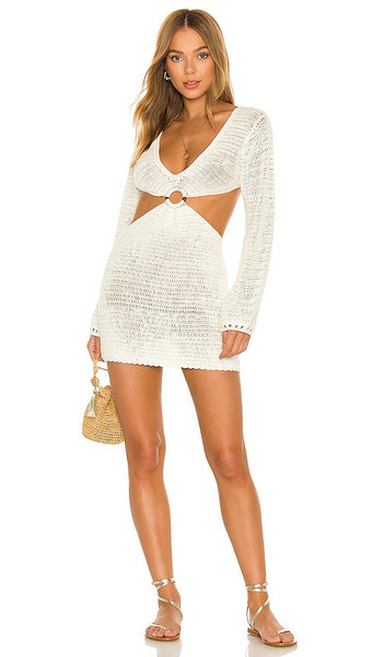 MAJORELLE Olivia Crochet Mini Dress in Cream in white