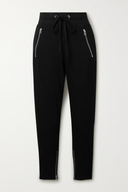 The Range - Alloy Ribbed Stretch-jersey Track Pants - Black