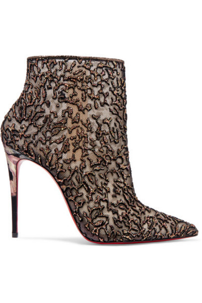 Christian Louboutin - Nancy 100 Embellished Lace-trimmed Flocked Tulle Ankle Boots - Gold
