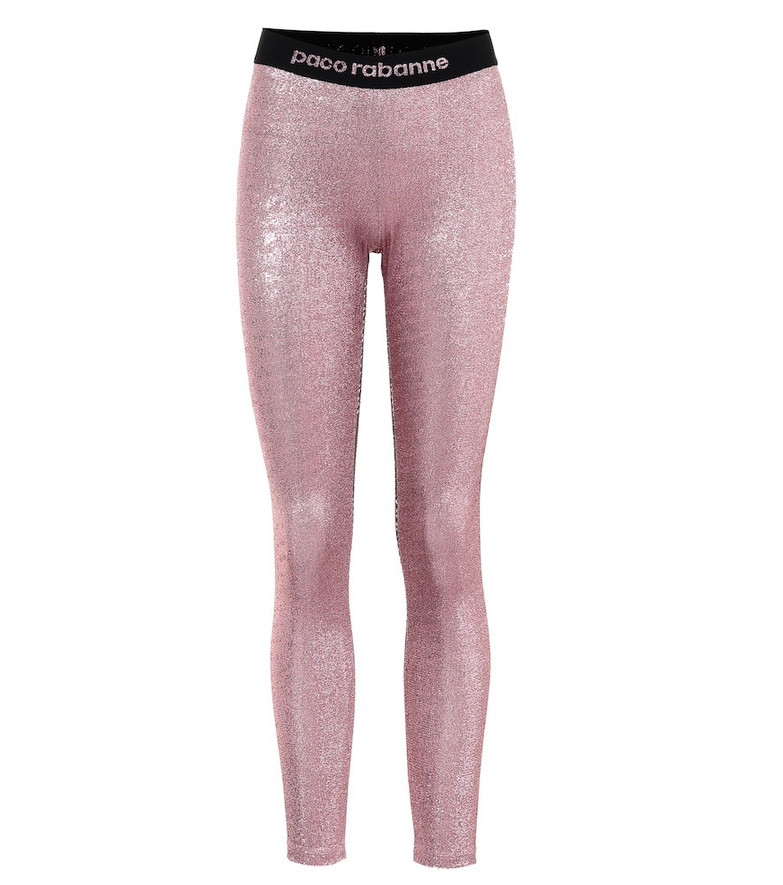 Paco Rabanne Metallic stretch-jersey leggings in pink