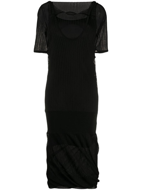 Bottega Veneta layered shift dress in black
