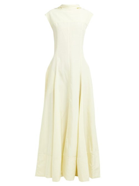 Jil Sander - Gatsby Slit Hem Open Back Dress - Womens - Light Yellow