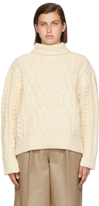 Blossom Off-White Cashmere Laon Cable Turtleneck in ivory