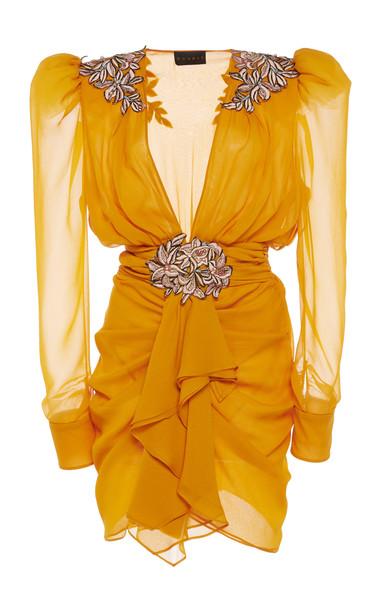 Dundas Embroidered Silk-Chiffon Dress in yellow