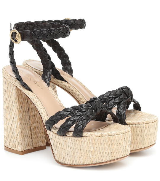 Gianvito Rossi Kea leather-trimmed platform sandals in black