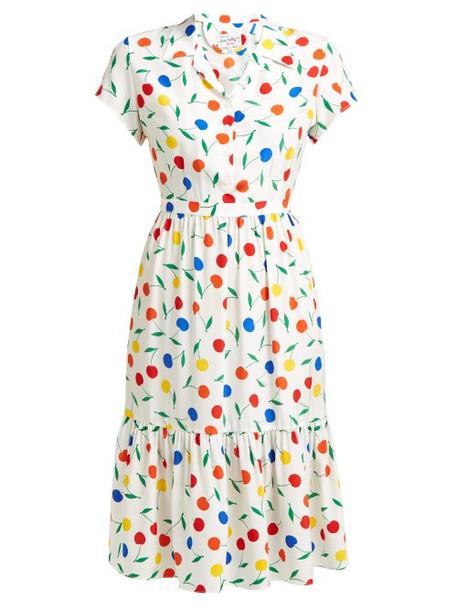 Hvn - Charlotte Cherry Print Ruffled Silk Midi Dress - Womens - White Multi