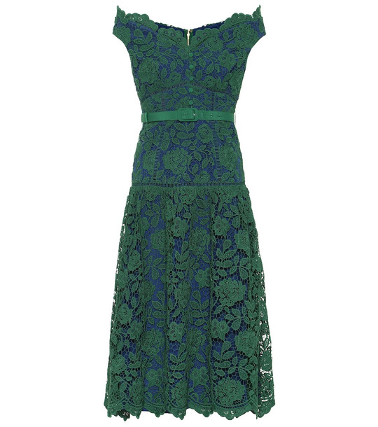 Self-Portrait Floral-lace midi dress in green