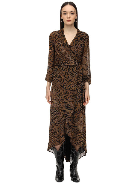 GANNI Printed Georgette Wrap Dress in brown