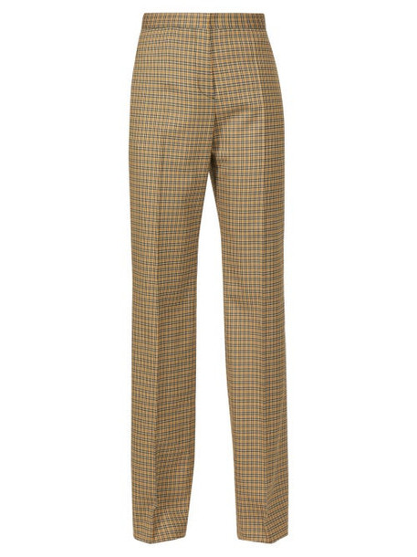 Rochas - Checked Tailored Twill Trousers - Womens - Brown Multi
