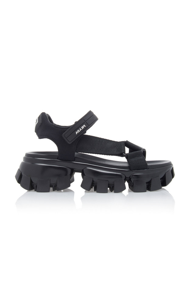 Prada Platform Tech Sandals in black