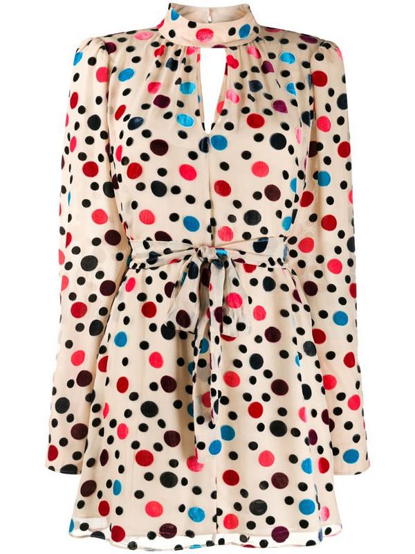 Saloni Tania polka-dot flocked dress in neutrals