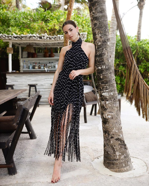 dress black dress maxi dress sleeveless dress fringes jacquemus