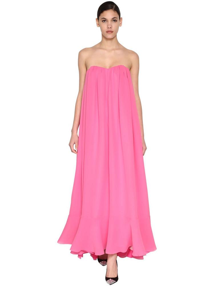 DELPOZO Long Silk Georgettes Dress in pink