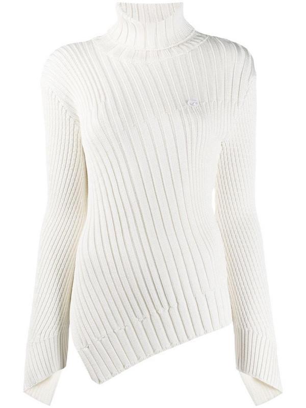 Coperni ribbed knit asymmetric jumper in white