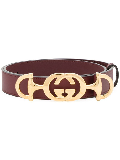 Gucci Leather belt with Interlocking G Horsebit in red