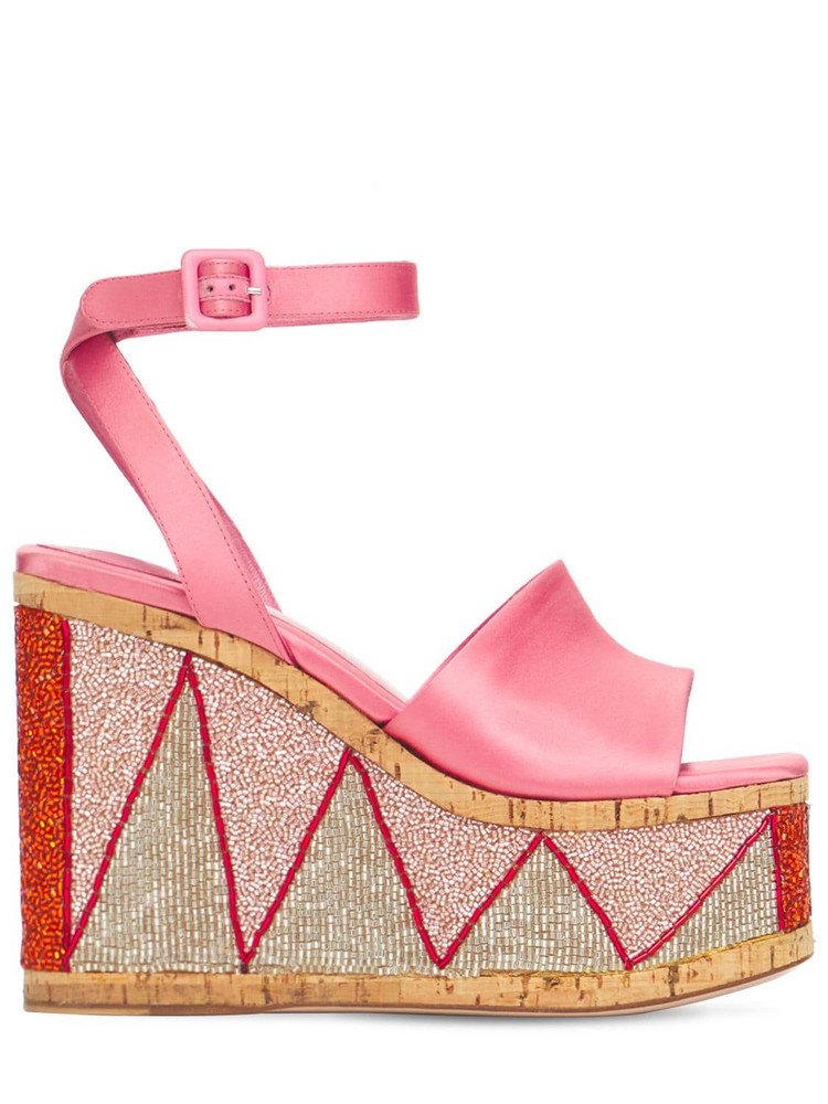HAUS OF HONEY 125mm Lust Bead Embellished Satin Wedges in pink