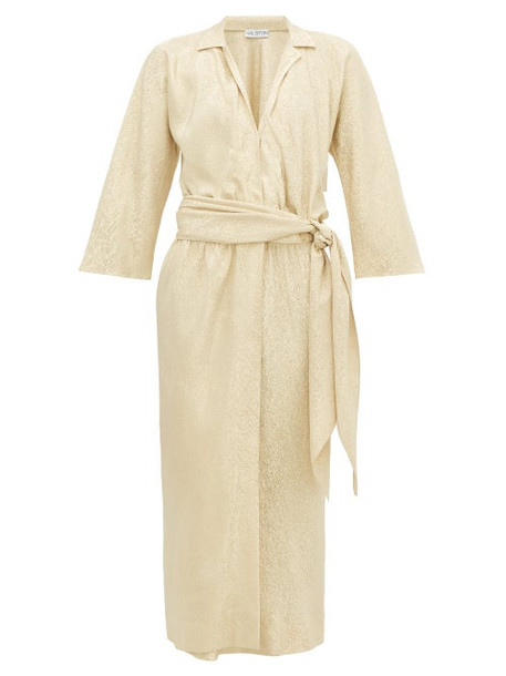 William Vintage - Halston 1974 Belted Lamé Wrap Dress - Womens - Gold