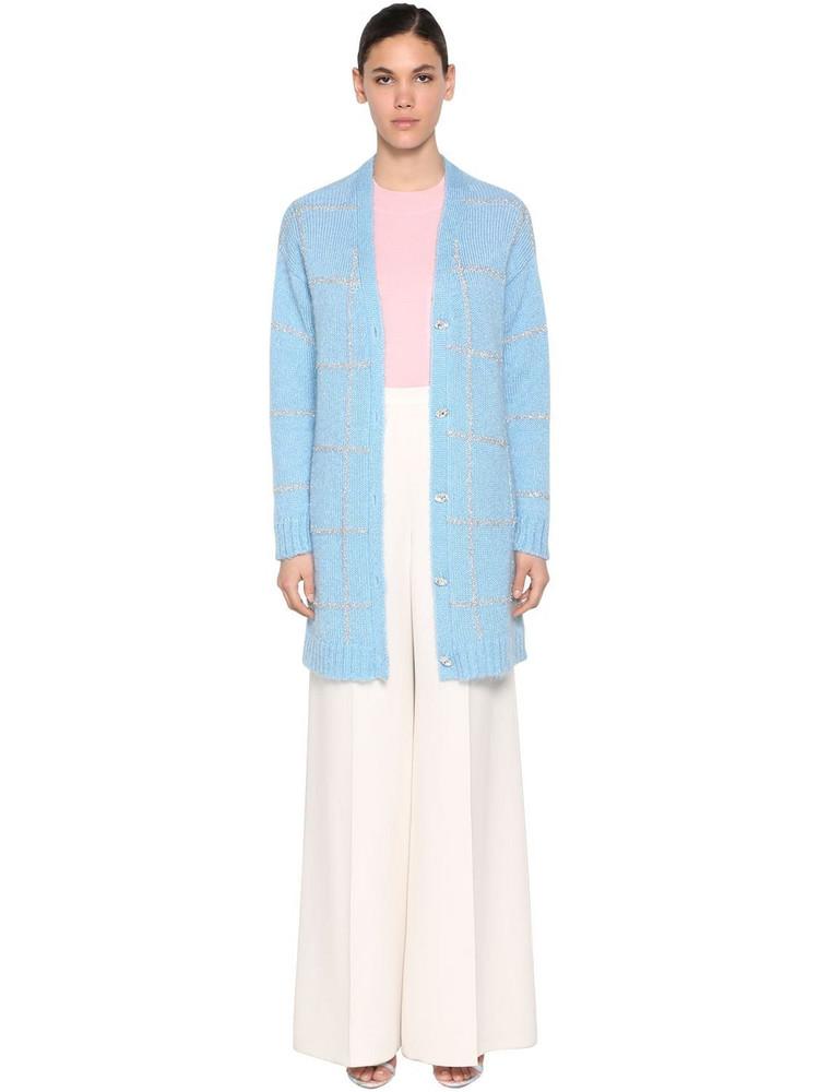 DELPOZO Oversized Mohair Blend Cardigan in blue
